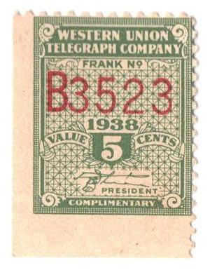 "1938 5c green, perf 12,12.5, ""White"""