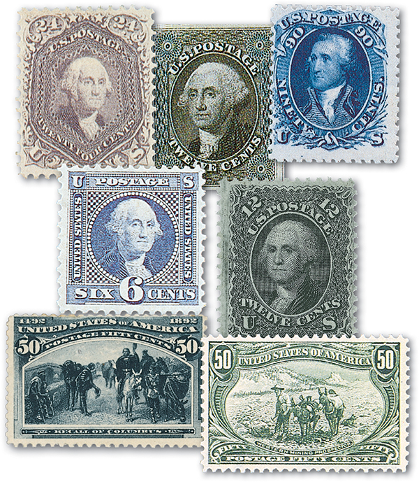 1851-98 Classic U.S. Stamps, set of 7