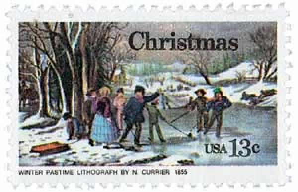 1976 13c Contemporary Christmas: Currier's 'Winter Pastime'