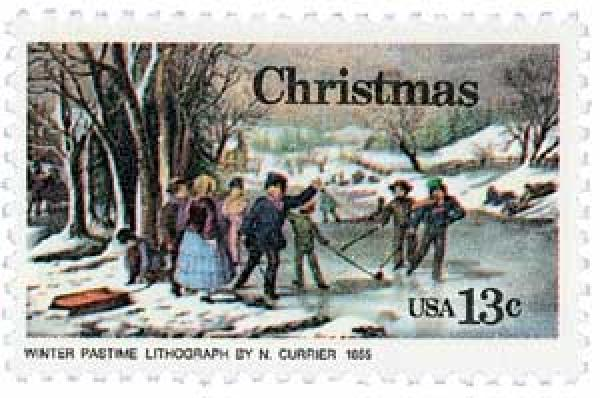 "1976 13c Contemporary Christmas: Curriers ""Winter Pastime"""