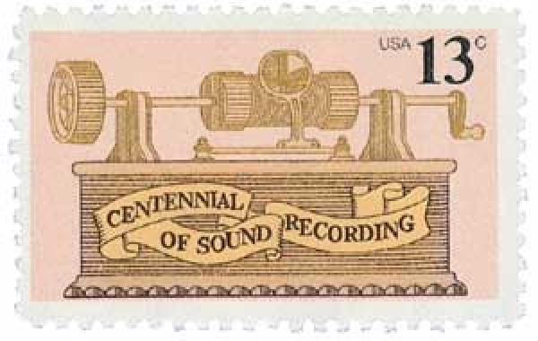 U.S. #1705 was issued for the 100th anniversary of Thomas Edison's invention of the phonograph.