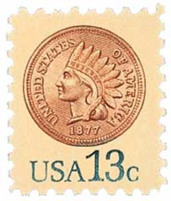1978 13¢ Indian Head Penny stamp
