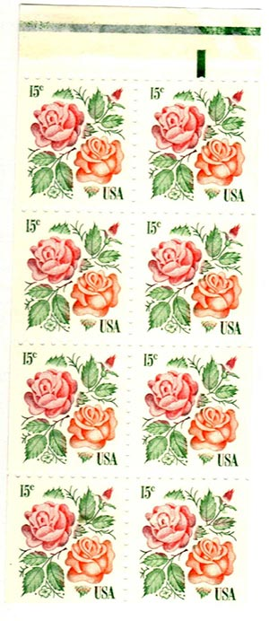 1978 15c Medallion Roses,bklt pane of 8