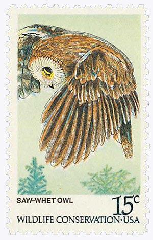 1978 American Owls, Saw-Whet 15c