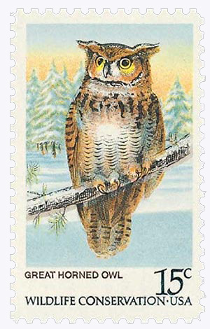 1978 15c American Owls: Great Horned Owl