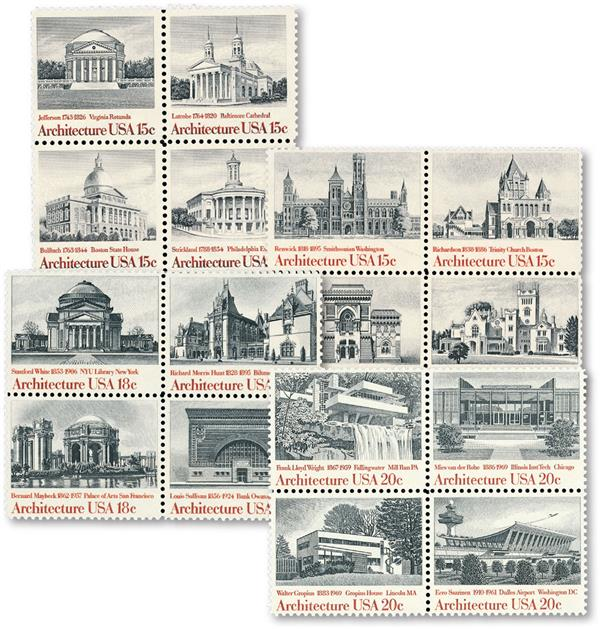 Complete Set of 16 stamps, 1979-1982 American Architecture Series