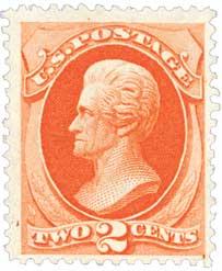 1875 2c Andrew Jackson, vermilion