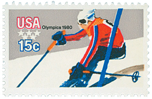 1980 15c Winter Olympics: Downhill Skier