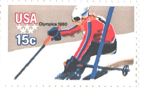 1980 15c Winter Olympics: Downhill Skier, perf 11