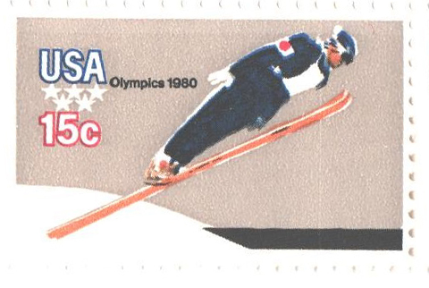 1980 15c Winter Olympics: Ski Jumper, perf. 11