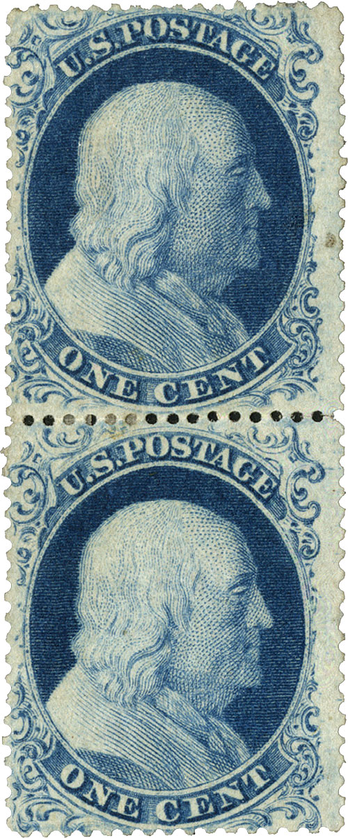 1861 1c Franklin, perf 15, T1