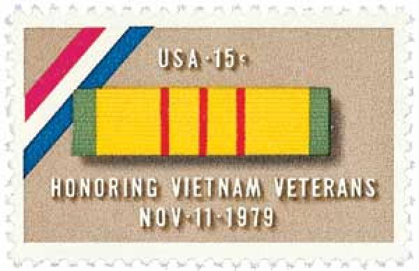 U.S. #1802 was issued on Veterans Day in 1979 and pictures the ribbon of the Vietnam Service Medal.
