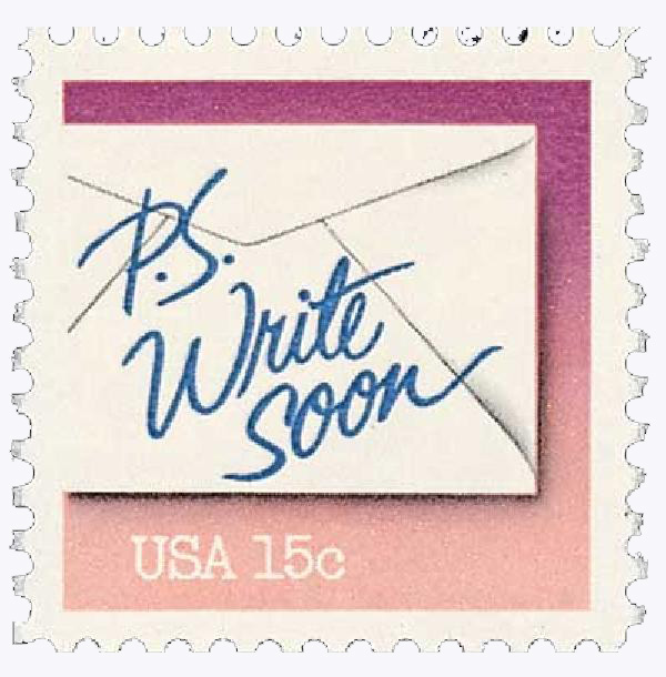 1980 Letter Writing, Write Soon 15c