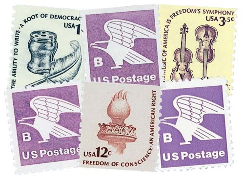 1980-81 Regular Issue Coil Stamps, collection of 6