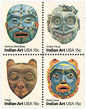 1980 15c Pacific Northwest Indian Masks