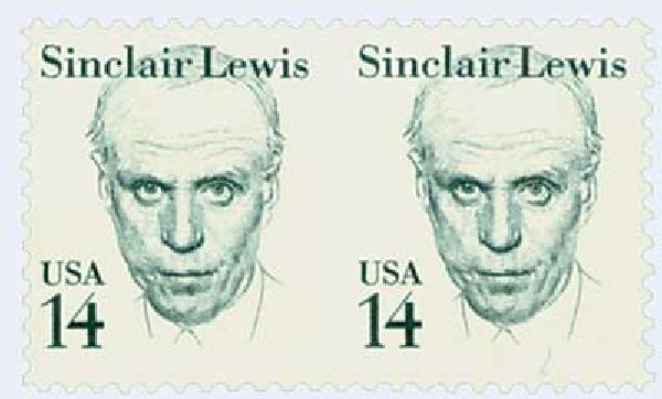1985 14c Sinclair Lewis, horizontal pair, imperf between