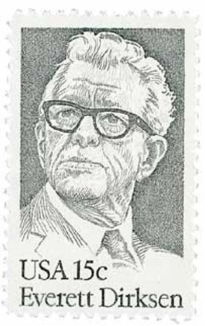 US #1874 was issued on Dirksen's 85th birthday.
