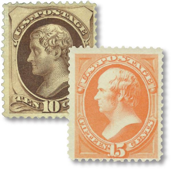 1879 10c Jefferson and 15c Webster