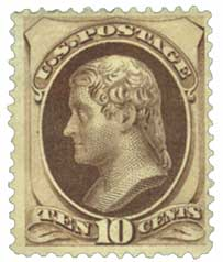 1879 10c Jefferson, brown