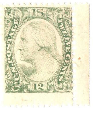 1877 12c Plate on stamp paper, perf 12