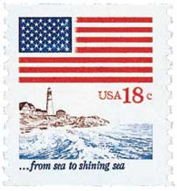 1981 18c Flag over Seacoast, coil