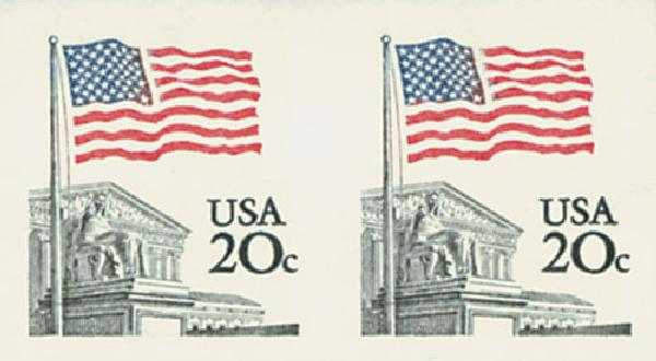 1981 20c Flag/Supreme Court, imperf pair