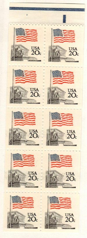 1981 20c Flag over Supreme Court, booklet pane of 10