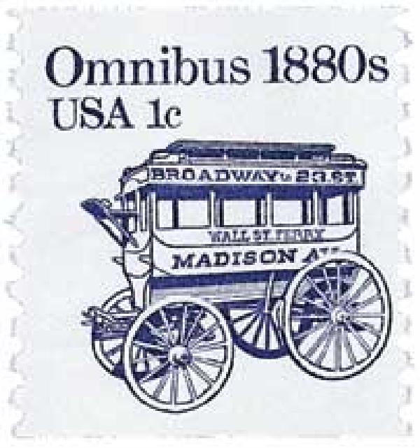 1983 1c Transportation Series: Omnibus, 1880s