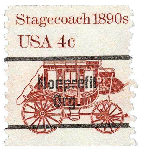 1982 4c Stagecoach, coil, precancel