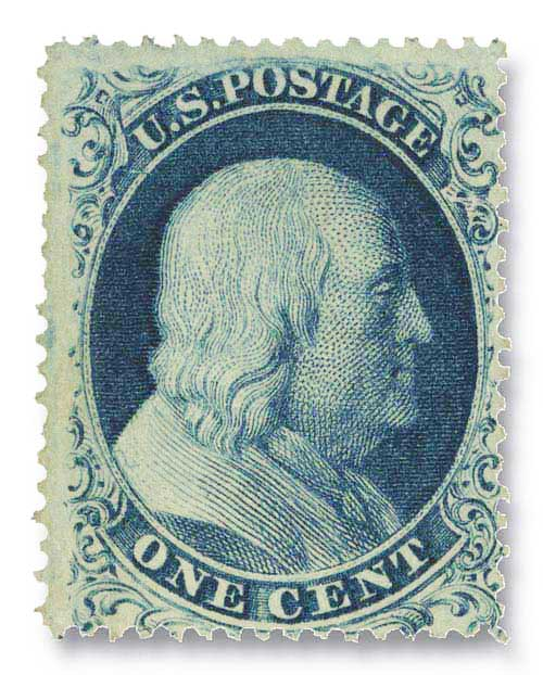 1857-61 1c Franklin, perf 15