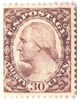 1877 30c Plate on stamp paper, perf 12