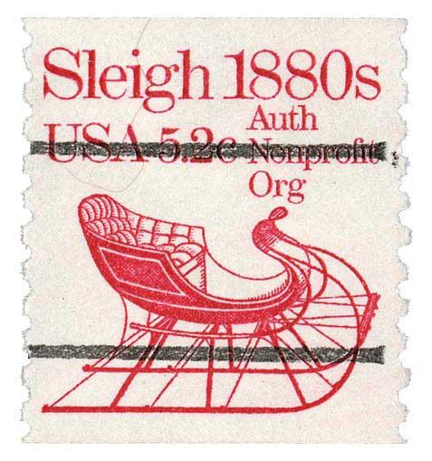 1983 5.2c Sleigh, precancel