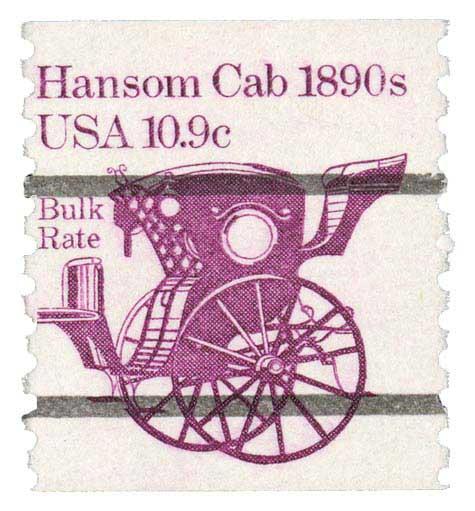 1981-84 10.9c Hansom Cab, precancel