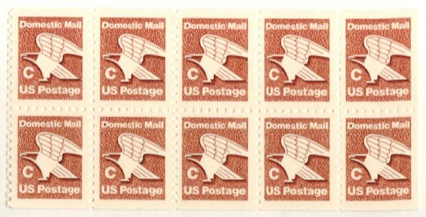 "1981-82 20c ""C"" Eagle,bklt pane of 10"