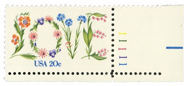 1982 20c Love, perf 11 1/4 x 10 1/2