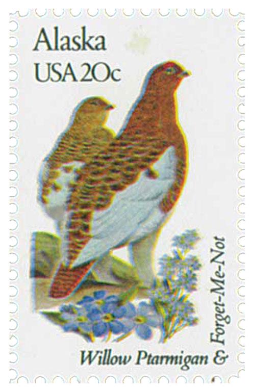 1982 20c Alaska State Bird & Flower
