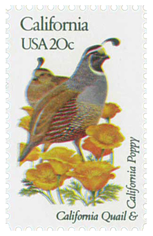 1982 20c State Birds and Flowers: California