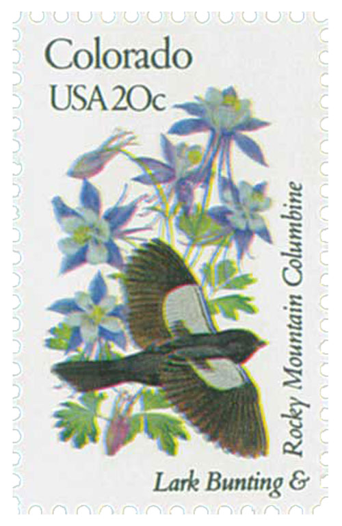 1982 20c Colorado State Bird & Flower
