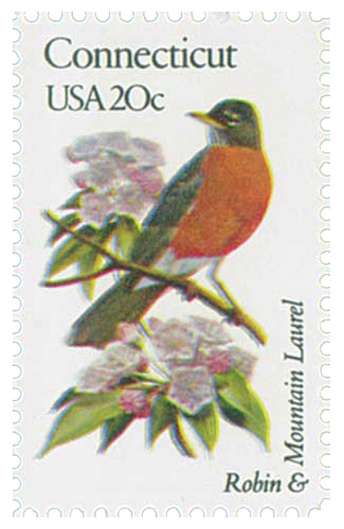 1982 20c Connecticut State Bird & Flower