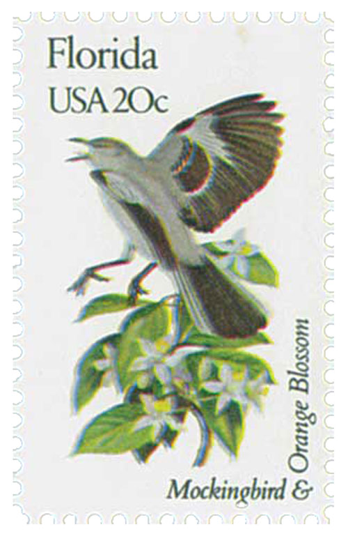 1982 20c State Birds and Flowers: Florida