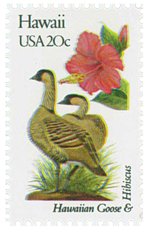 1982 20c Hawaii State Bird & Flower