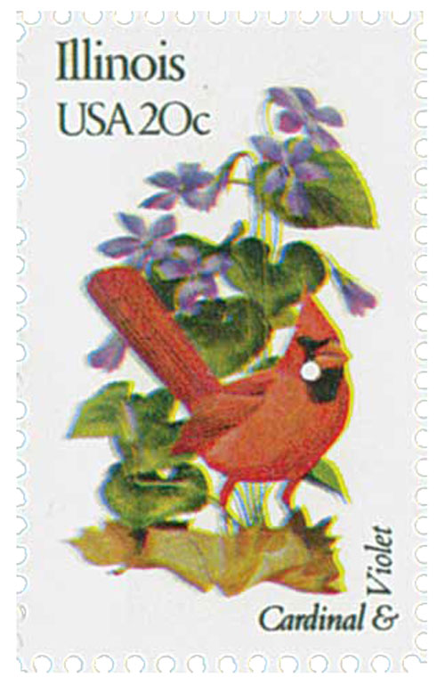 1982 20c State Birds and Flowers: Illinois