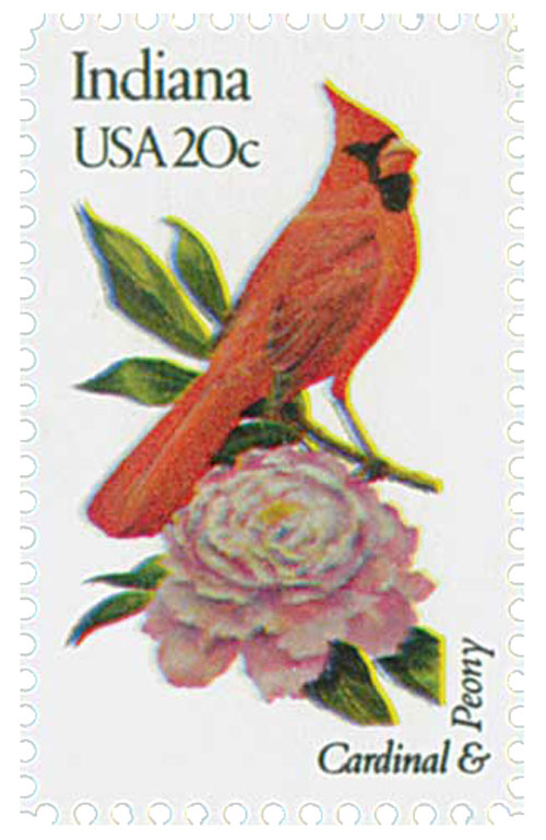1982 20c State Birds and Flowers: Indiana