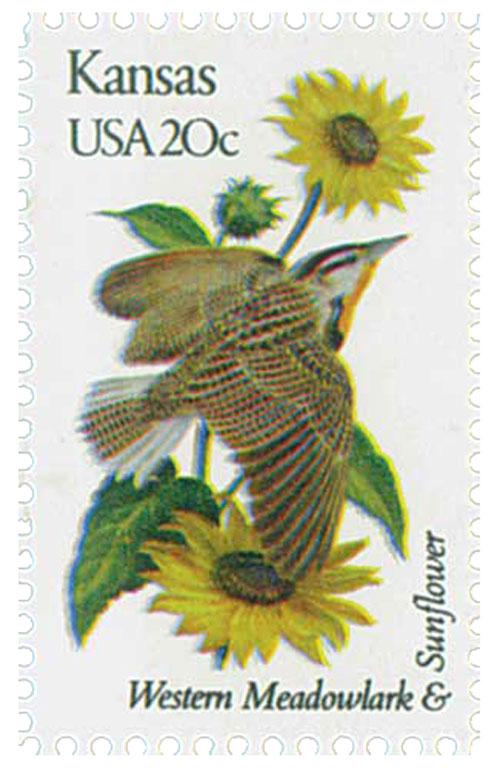 1982 20c State Birds and Flowers: Kansas