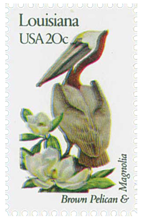 1982 20c State Birds and Flowers: Louisiana