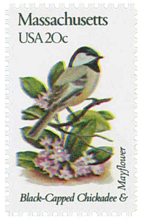 1982 20c State Birds and Flowers: Massachusetts