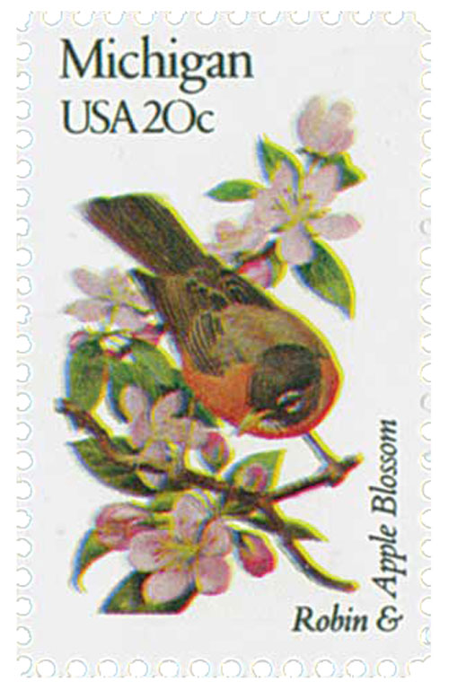 1982 20c State Birds and Flowers: Michigan