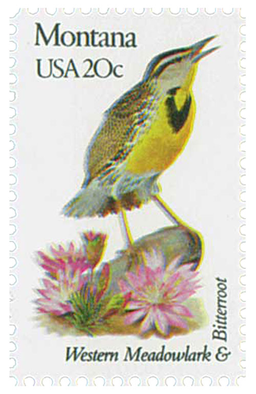 U.S. #1978 pictures the state bird and flower – the Western Meadowlark and Bitterroot.