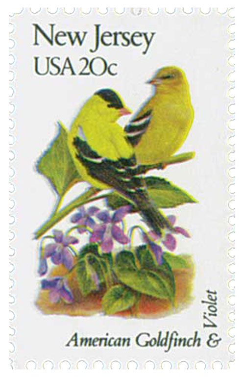 1982 20c State Birds and Flowers: New Jersey