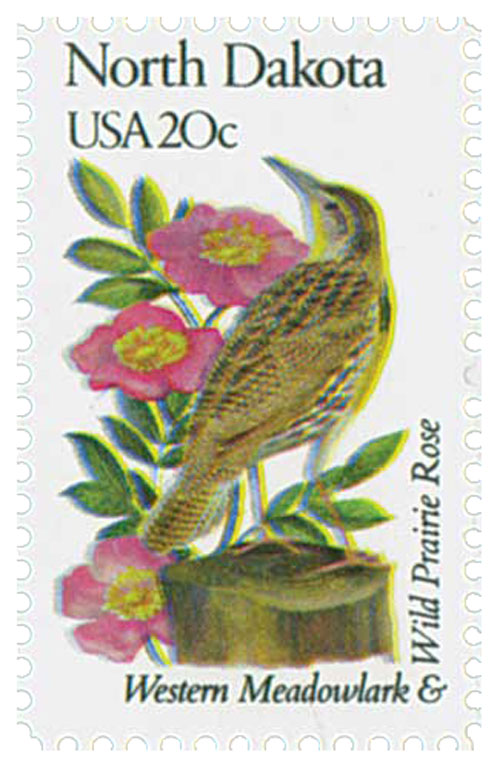 1982 20c State Birds and Flowers: North Dakota